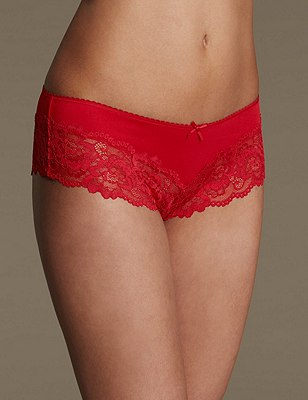 Lace Brazilian Knickers, BERRY RED, catlanding