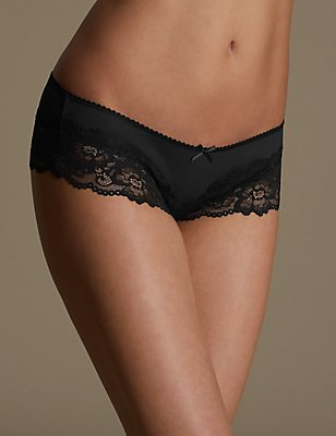 Lace Brazilian Knickers, BLACK, catlanding