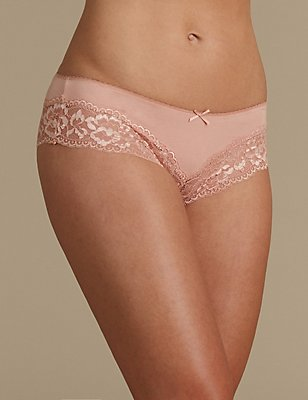 No VPL Cotton Blend Brazilian Knickers, LIGHT COPPER, catlanding
