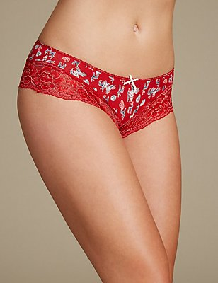 Cotton Blend Brazilian Knickers, RED MIX, catlanding