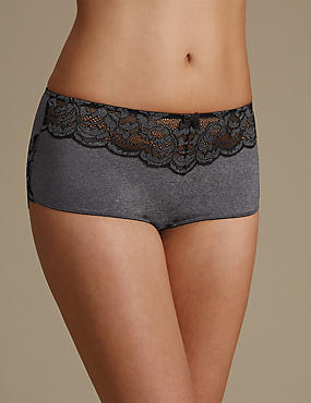 Ornate Lace High Rise Shorts , GREY MARL, catlanding