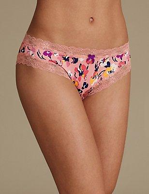 Floral Print Bikini Knickers, LIGHT COPPER, catlanding