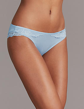 Lace Brazilian Knickers with Cashmere, CHAMBRAY, catlanding