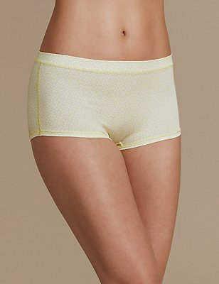 Modal Rich Printed High Rise Shorts, PALE YELLOW, catlanding