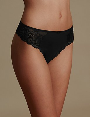 Lace High Rise Thong, BLACK, catlanding