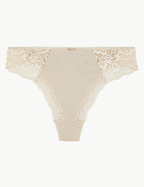 Cotton Blend Side Lace Thong, ALMOND, catlanding