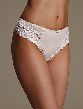 High Rise Lace Thong, ALMOND, catlanding