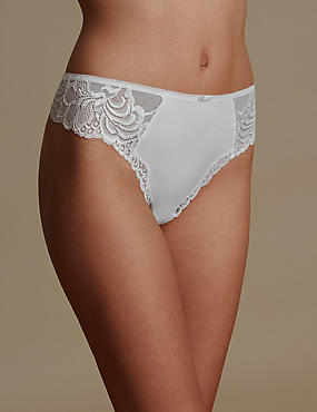 High Rise Lace Thong, WHITE, catlanding