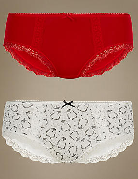 2 Pack Cotton Rich Low Rise Shorts, RED MIX, catlanding