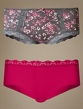 2 Pack Lace Trim Low Rise Shorts, CRIMSON, catlanding