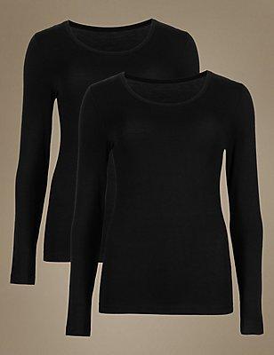 2 Pack Heatgen™ Thermal Long Sleeve Tops, BLACK, catlanding