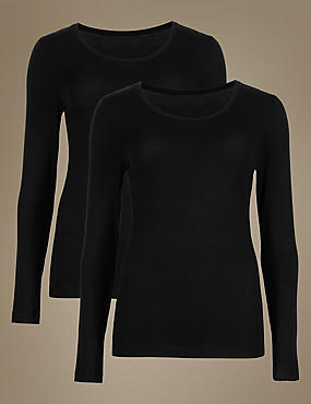 2 Pack Heatgen™ Thermal Long Sleeve Tops, BLACK, catlanding