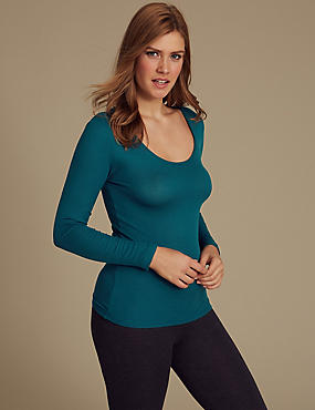 Heatgen™ Ribbed Thermal Long Sleeve Top, DARK TURQUOISE, catlanding