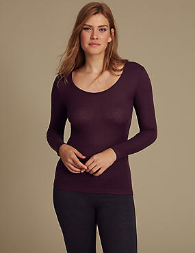 Heatgen™ Ribbed Thermal Long Sleeve Top, BLACKCURRANT, catlanding