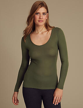 Heatgen™ Ribbed Thermal Long Sleeve Top, PINE GREEN, catlanding