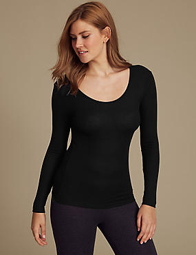Heatgen™ Ribbed Thermal Long Sleeve Top, BLACK, catlanding