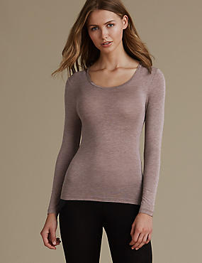 Heatgen™ Thermal Long Sleeve Top, MOCHA, catlanding