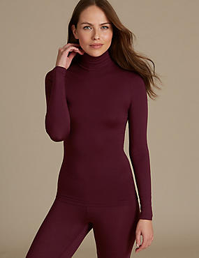 Heatgen™ Thermal Polo Neck Top, WINE, catlanding