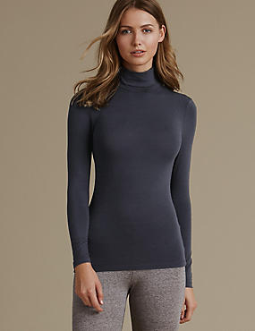 Heatgen™ Thermal Polo Neck Top, DARK NAVY, catlanding