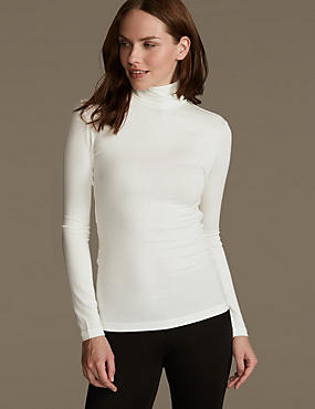 Heatgen™ Thermal Polo Neck Top, LIGHT CREAM, catlanding