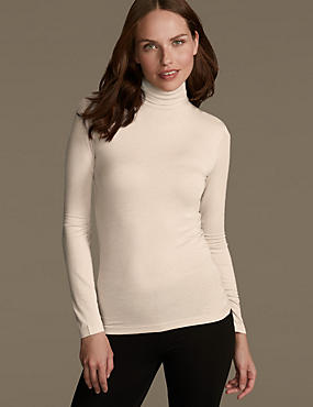 Heatgen™ Thermal Polo Neck Top, OATMEAL, catlanding