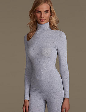 Heatgen™ Thermal Polo Neck Top, GREY, catlanding