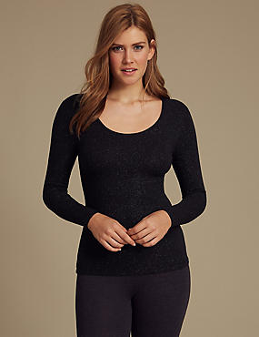 Heatgen™ Thermal Long Sleeve Top, NAVY MIX, catlanding