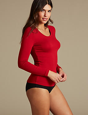 Heatgen Plus™ Thermal Long Sleeve Top, RED, catlanding