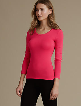Heatgen™ Thermal Long Sleeve Top, HOT PINK, catlanding