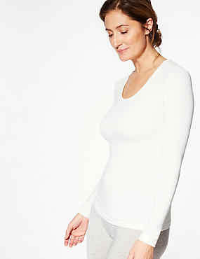 Brushed Heatgen™ Thermal Long Sleeve Top, CREAM, catlanding
