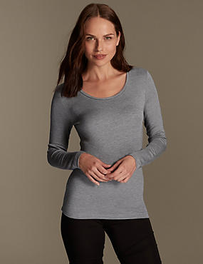 Brushed Heatgen™ Thermal Long Sleeve Top, GREY MARL, catlanding