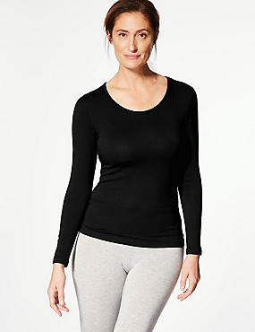 Brushed Heatgen™ Thermal Long Sleeve Top, BLACK, catlanding