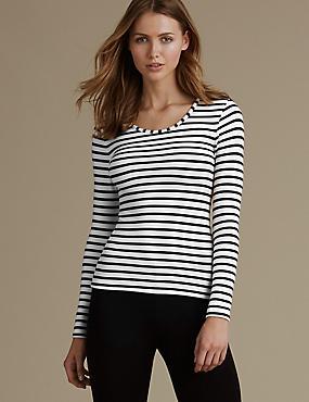 Brushed Heatgen™ Thermal Striped Long Sleeve Top, BLACK/WHITE, catlanding