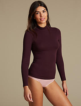 Heatgen™ Thermal Long Sleeve Polo Neck  Top, BLACKCURRANT, catlanding