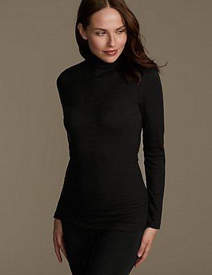 Heatgen™ Thermal Long Sleeve Polo Neck  Top, BLACK, catlanding