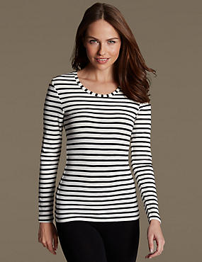 Thermal Long Sleeve Striped Top, BLACK/WHITE, catlanding