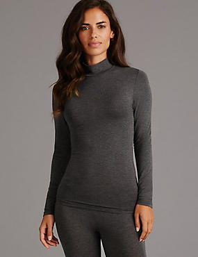 Heatgen™ Thermal Turtle Neck Top with Cashmere, CHARCOAL, catlanding