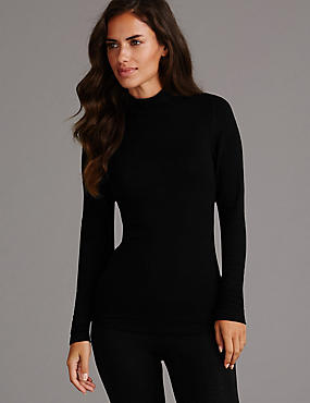 Heatgen™ Thermal Turtle Neck Top with Cashmere, BLACK, catlanding