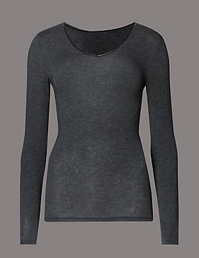 Heatgen™ Thermal V Neck Top with Cashmere, CHARCOAL, catlanding