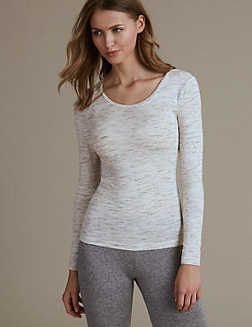 Heatgen™ Sparkle Long Sleeve Thermal Top, GREY MIX, catlanding