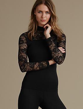 Heatgen™ Lace Polo Neck Long Sleeve Top, BLACK, catlanding