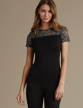 Heatgen™ Glamour Short Sleeve Vest Top, BLACK, catlanding