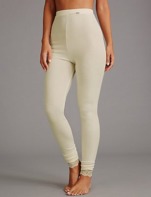 Silk & Modal Thermal Leggings , LIGHT CREAM, catlanding