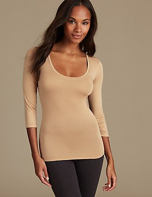 Heatgen™ Thermal 3/4 Sleeve Top, CAMEL, catlanding
