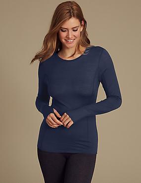 Merino Wool Blend Thermal Long Sleeve Top, INDIGO, catlanding