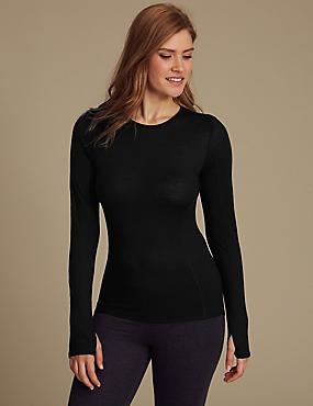 Merino Wool Blend Thermal Long Sleeve Top, BLACK, catlanding