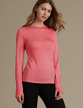 Long Sleeve Thermal Top, HOT PINK, catlanding
