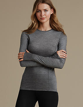 Long Sleeve Thermal Top, BLACK MIX, catlanding