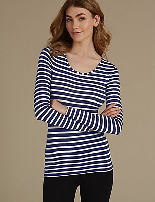 Heatgen™ Thermal Long Sleeve Striped Top, INDIGO MIX, catlanding