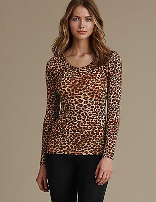 Heatgen™ Thermal Long Sleeve Leopard Print Top, BROWN MIX, catlanding